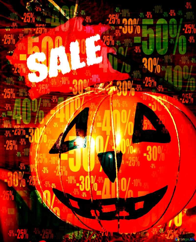 Halloween pumpkin from the ball Sale Letter Store discount dark background. №35403