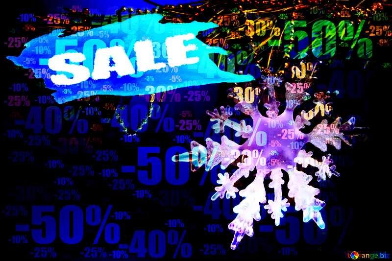 happy New year Winter sale snowflake banner template Store discount dark background. №2393
