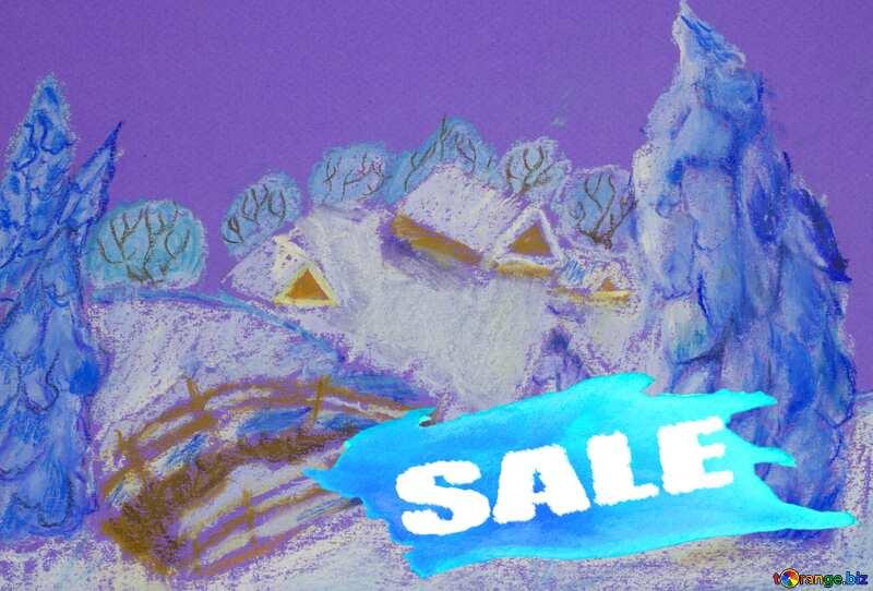Snowy landscape sale banner template design №49239