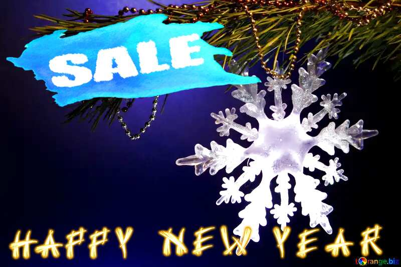 Winter sale snowflake  happy New year text template banner №2393