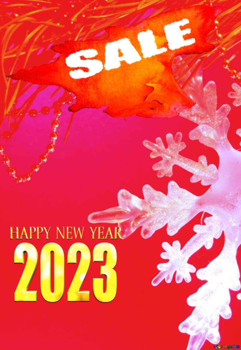 Winter sale snowflake 2022 red hot  promotion background №2393