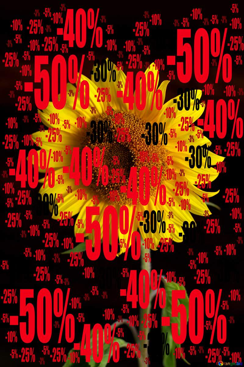 Sale offer discount template Sunflower Black Background №32798