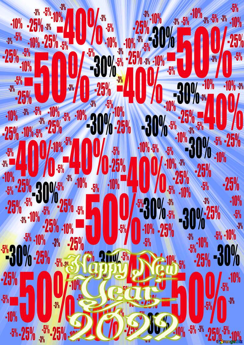 Winter hot sale Happy New Year 2022 Card Background Rays blue Sale offer discount template №49660