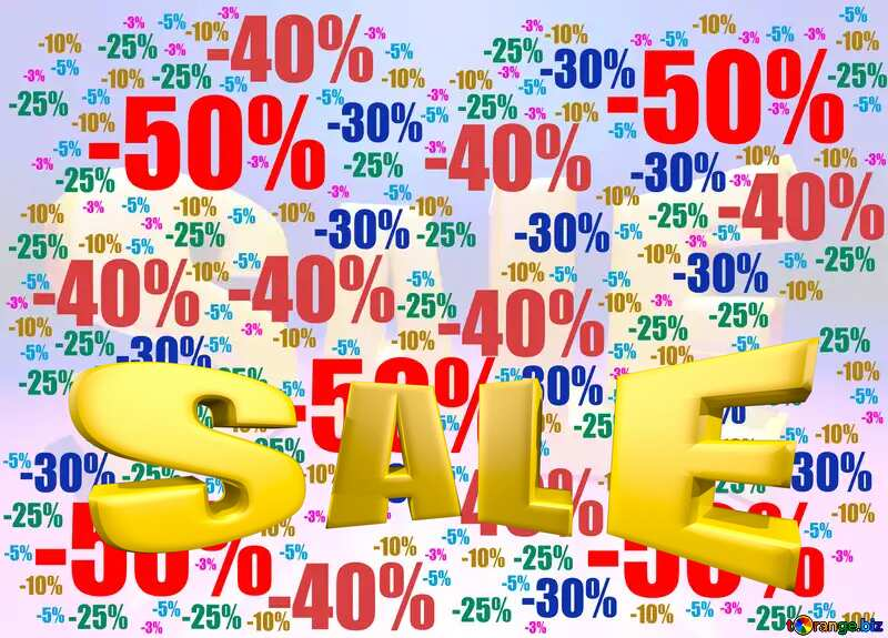 Store discount background. Sales discount promotion sale made of realistic 3d Gold letters collection for your unique selling poster, banner, discount, ads. №51545