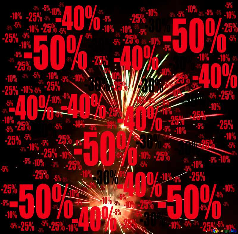 Sale offer discount template Fireworks Background №37177