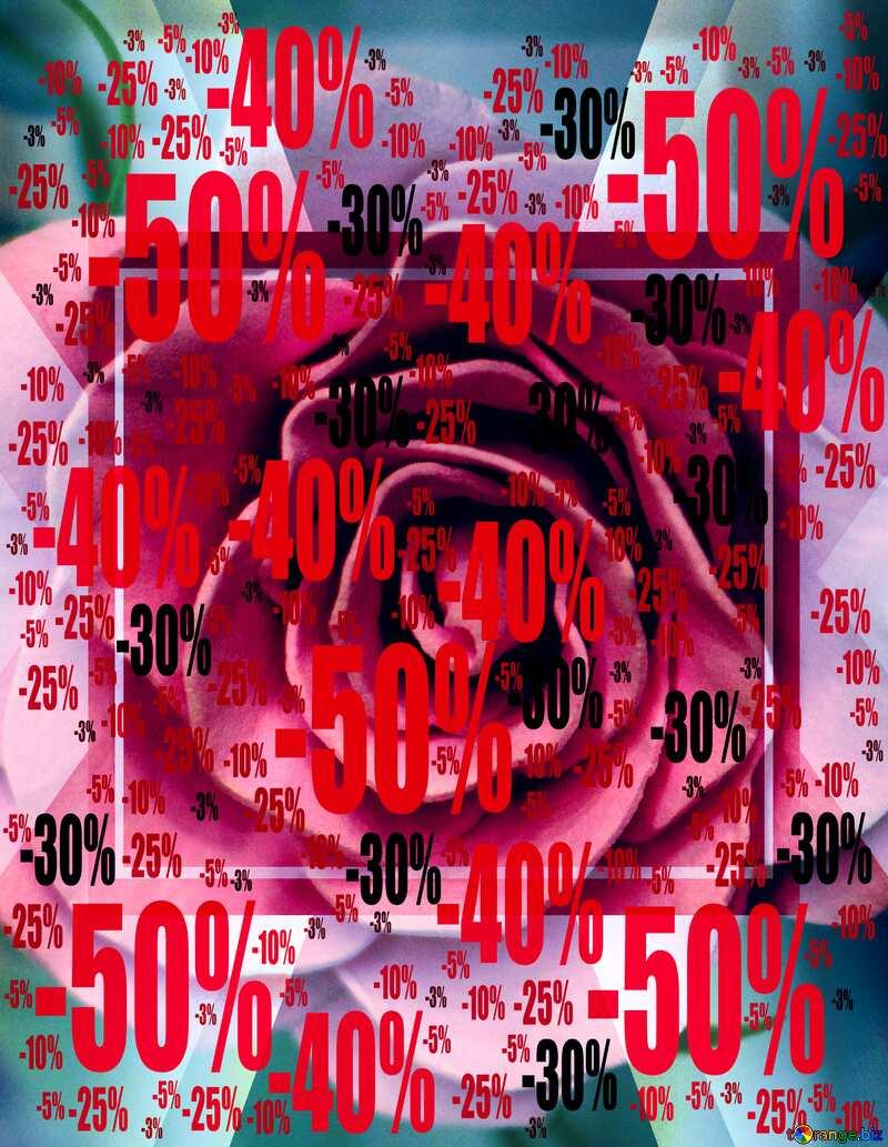 Sale offer discount template Rose Flower Design frame №48638