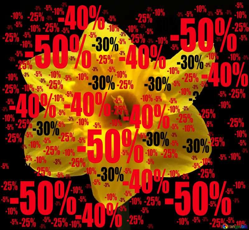 Sale offer discount template Flower Narcissus Dark Background №30906