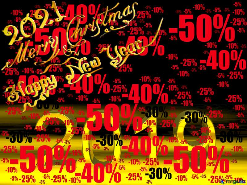 2019 3d render gold digits with reflections dark background isolated Merry Christmas Happy New Year Sale offer discount template №51520