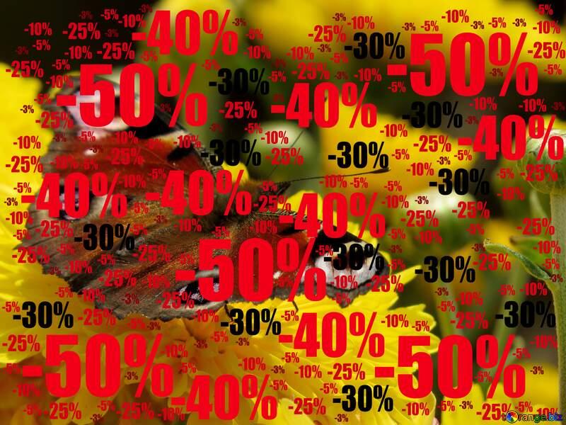 Wallpaper butterfly on flower Sale offer discount template №35841