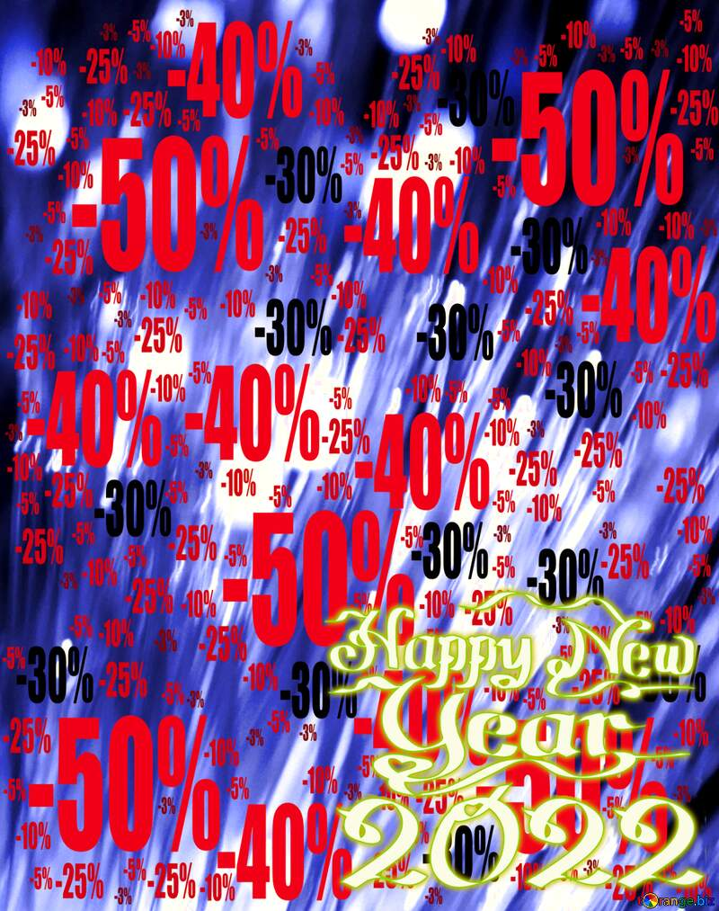 happy new year 2022 lights blue background Sale offer discount template №41330