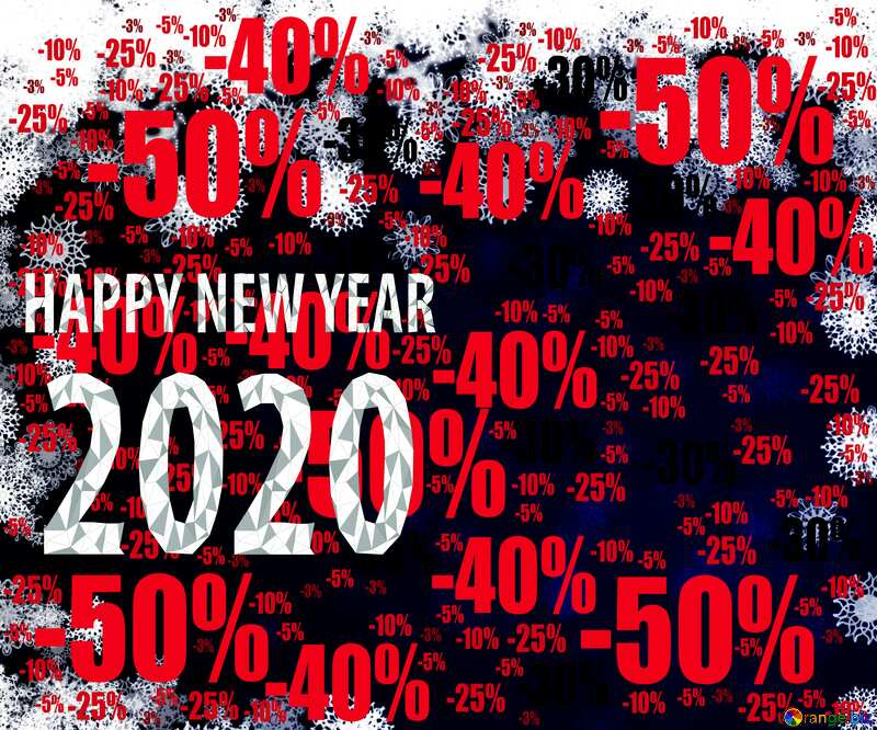 New year 2020 background card with snowflakes Sale offer discount template №40728