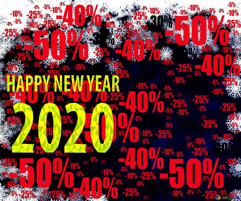 New year 2020 background with snowflakes Sale offer discount template №40728