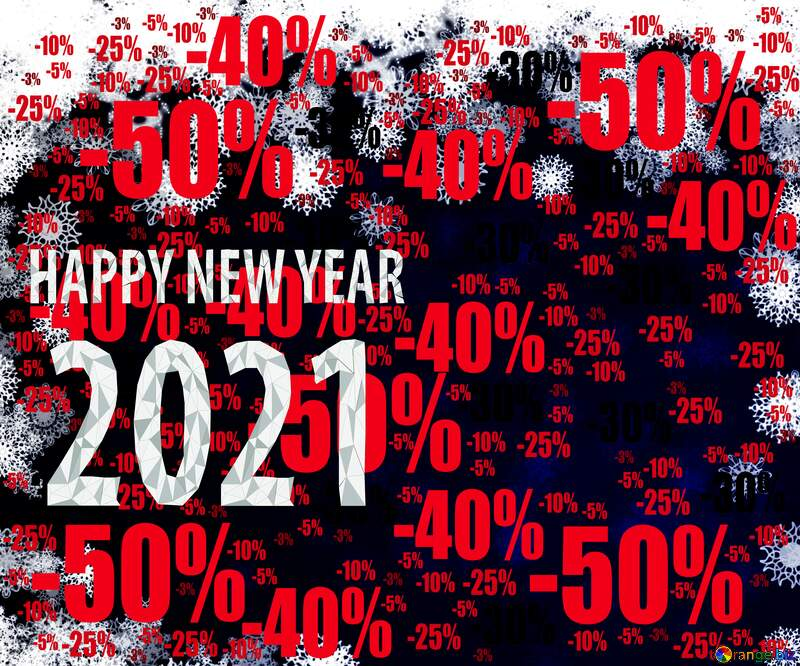 New year 2021 background card with snowflakes Sale offer discount template №40728