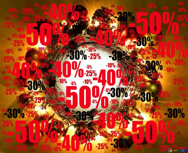 Christmas sales wreath background with space for text Sale offer discount template №48047