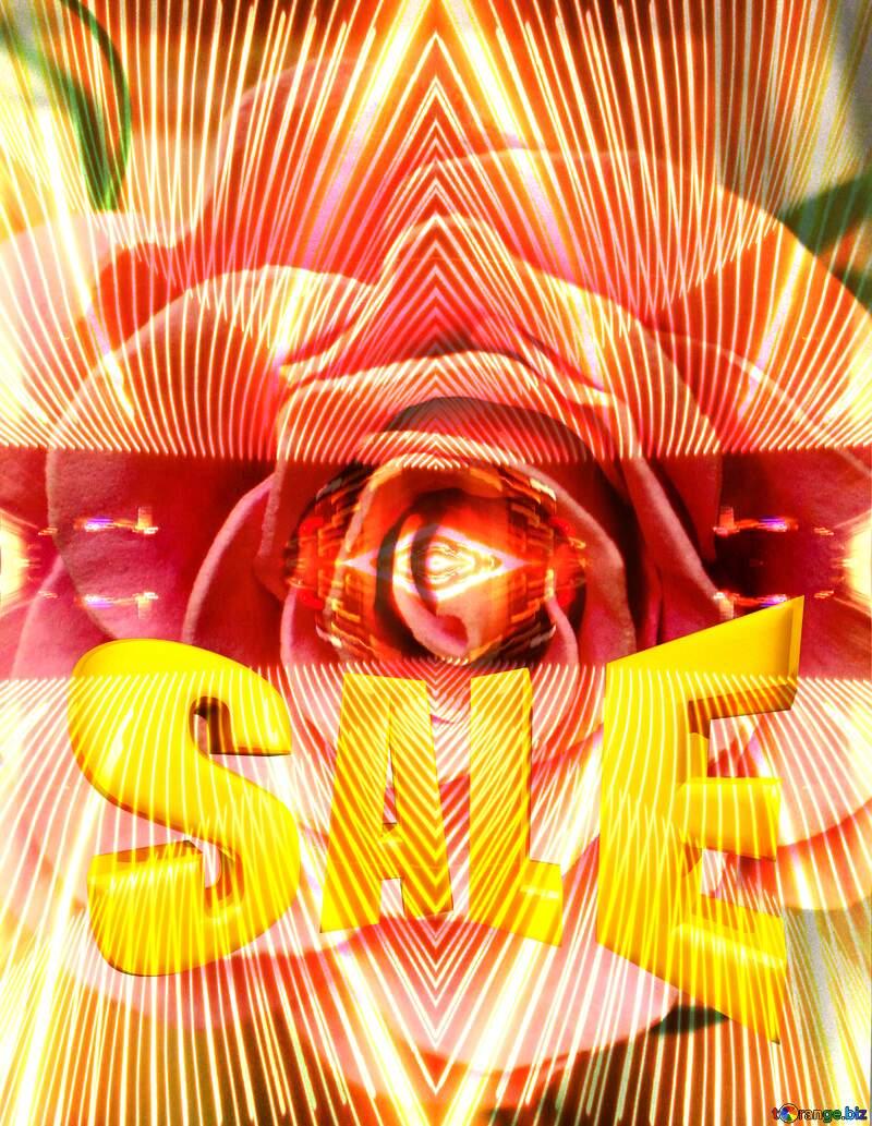 Lights lines curves pattern template Flower Rose Template Sales promotion 3d Gold letters sale background №48638