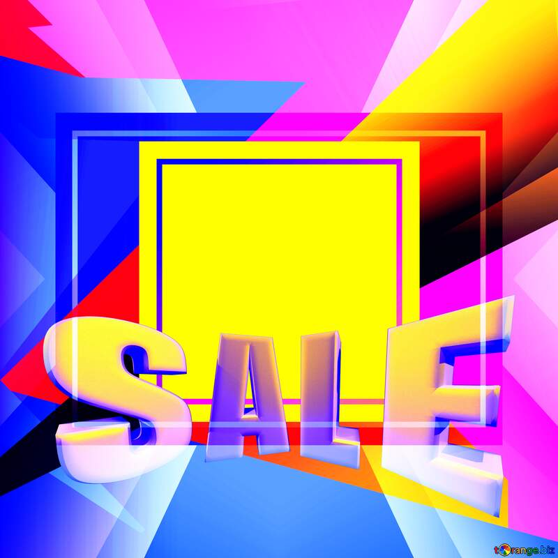 Geometrical Future Trend template frame illustration responsive picture Sales promotion 3d Neon letters sale background №49675