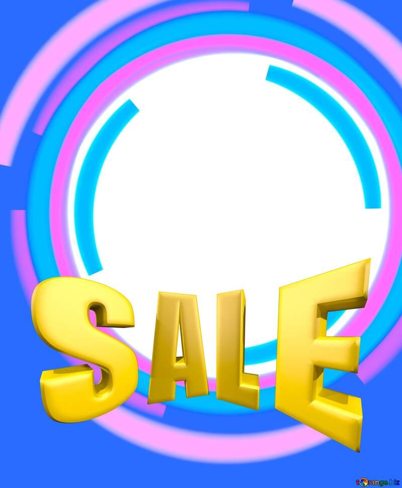 Sales promotion 3d Gold letters sale background Blue Frame Circle №49680