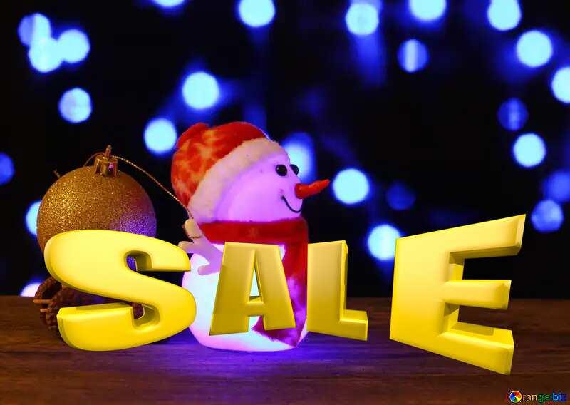 Sales promotion 3d Gold letters sale background Christmas Snowman Template №48112