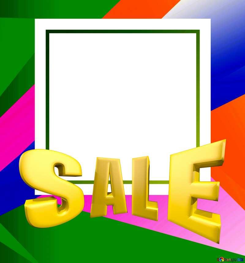 Sales promotion 3d Gold letters sale background Frame Card Template №49675