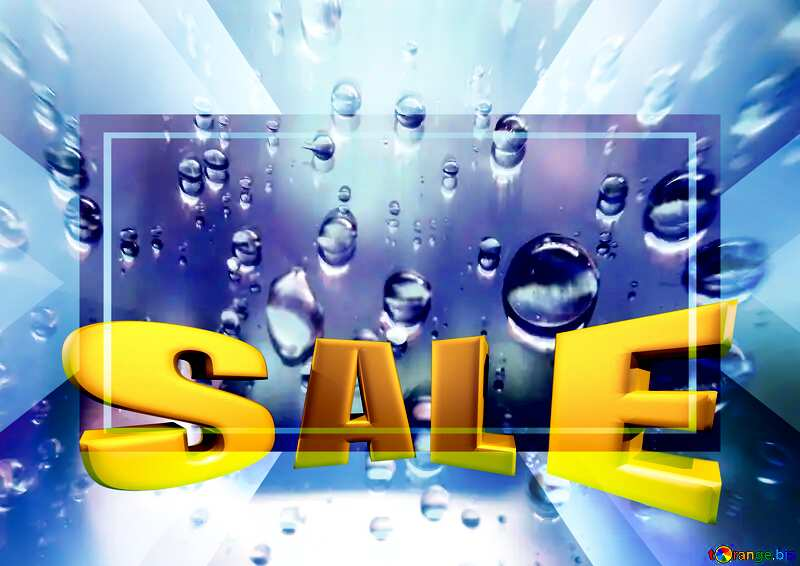 Raindrops macro background Sales promotion 3d Gold letters sale background Design Template №47981
