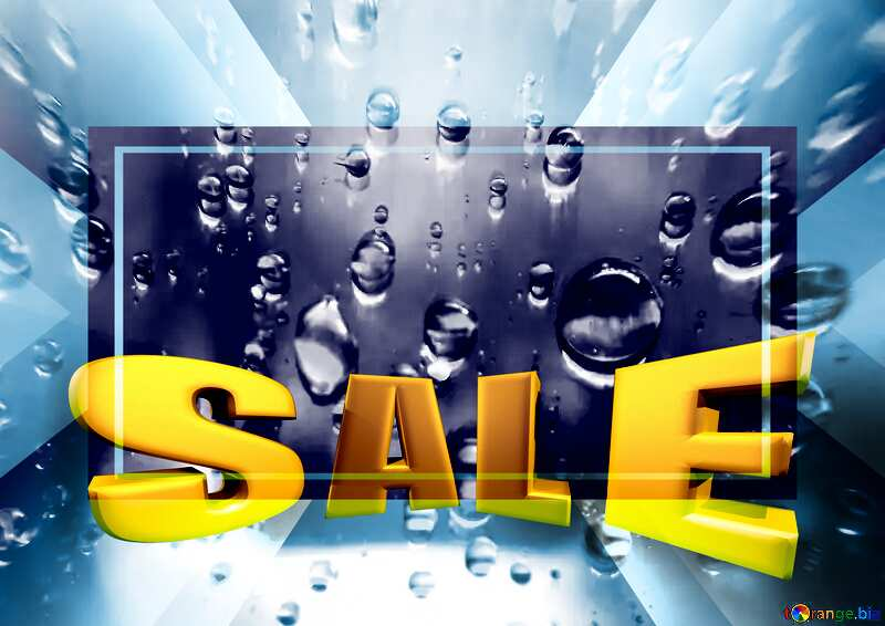 Raindrops macro background Sales promotion 3d Gold letters sale background Frame Template №47981