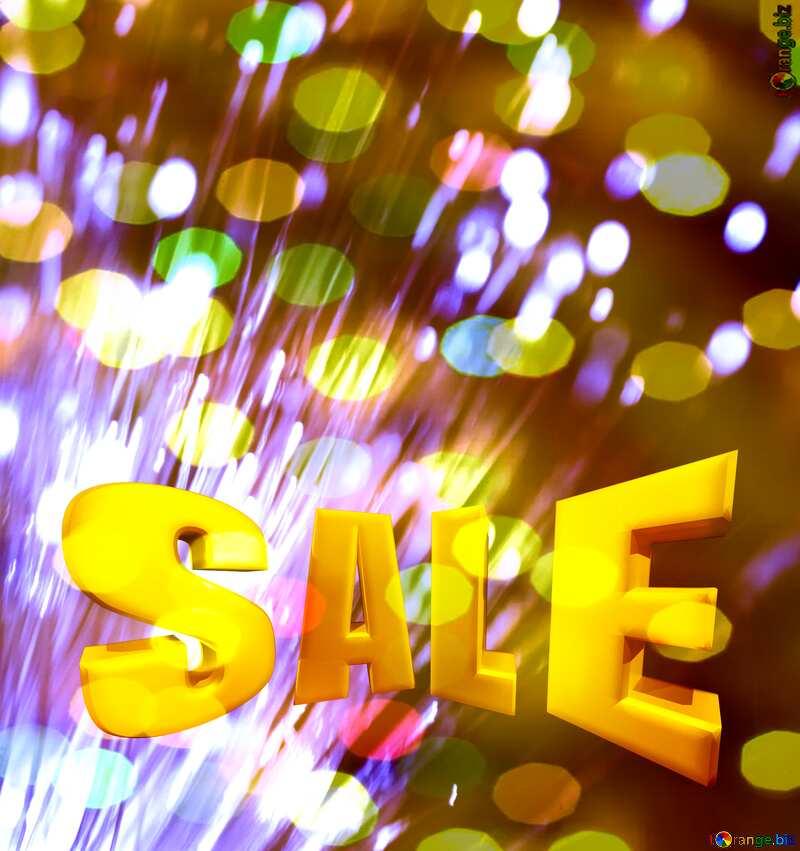 Optical fiber Sales promotion 3d Gold letters sale background bokeh Lights Template №41330