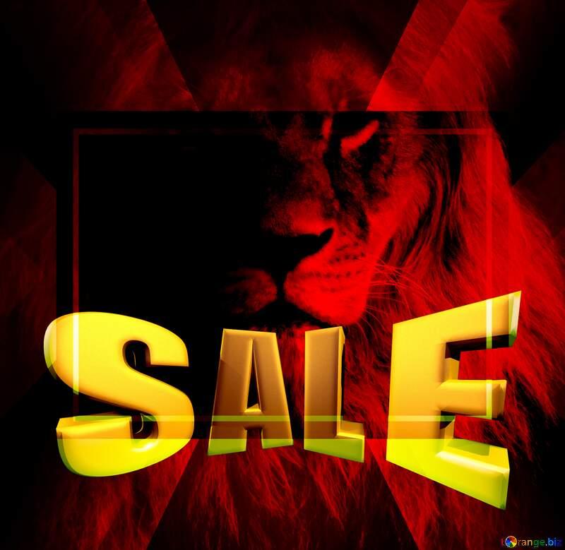A lion Sales promotion 3d Gold letters sale background Red Portrait Template №44974