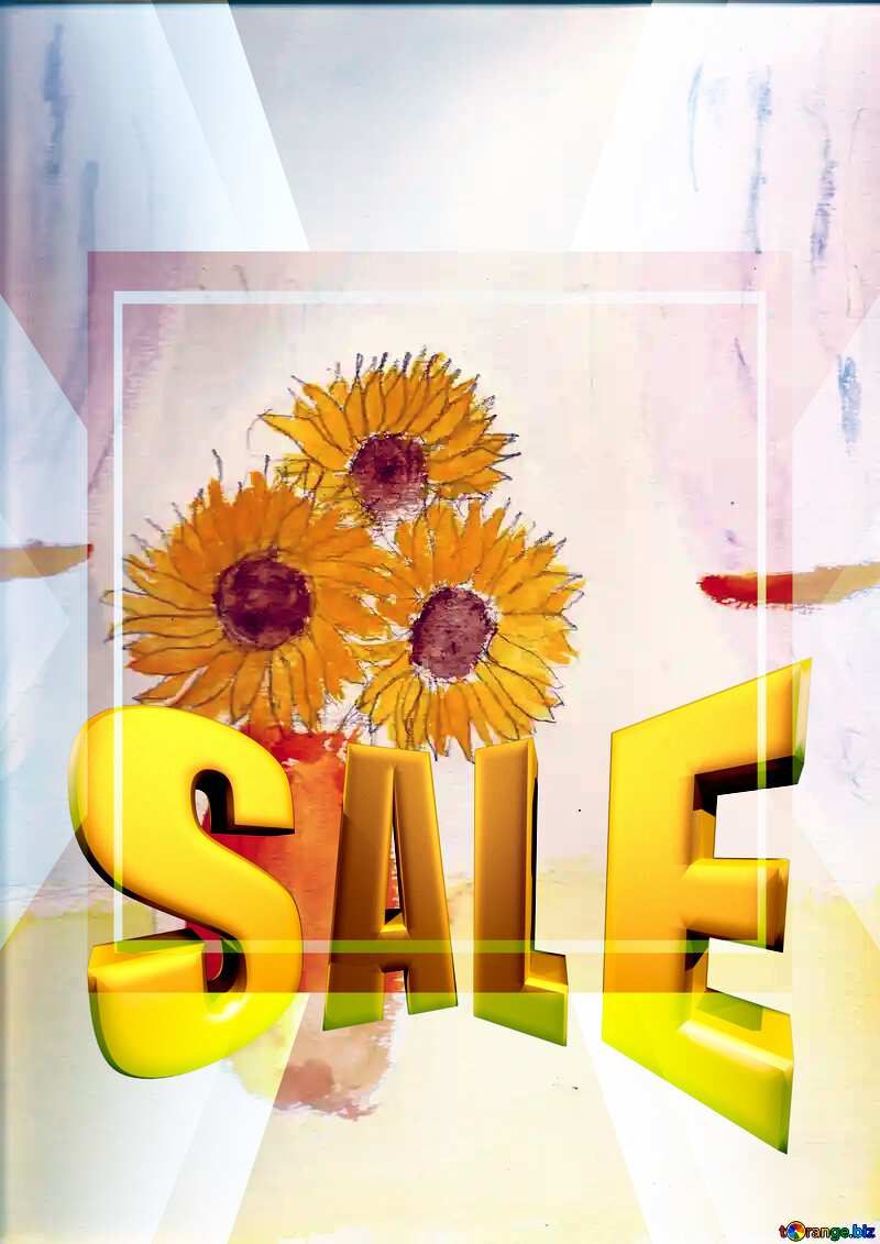 Sales promotion 3d Gold letters sale background Children`s Drawing Sunflowers Template №44736