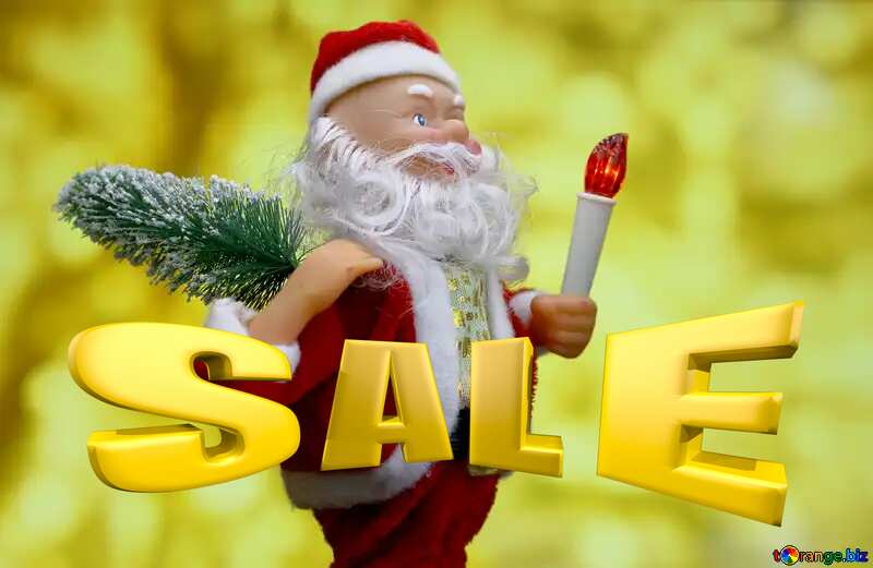 Sales promotion 3d Gold letters sale background Santa Claus Christmas Card Banner Template №48150