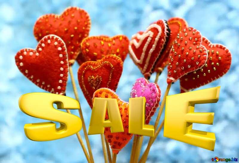 Sales promotion 3d Gold letters sale background Valentine`s Day Felt Hearts Template №49196