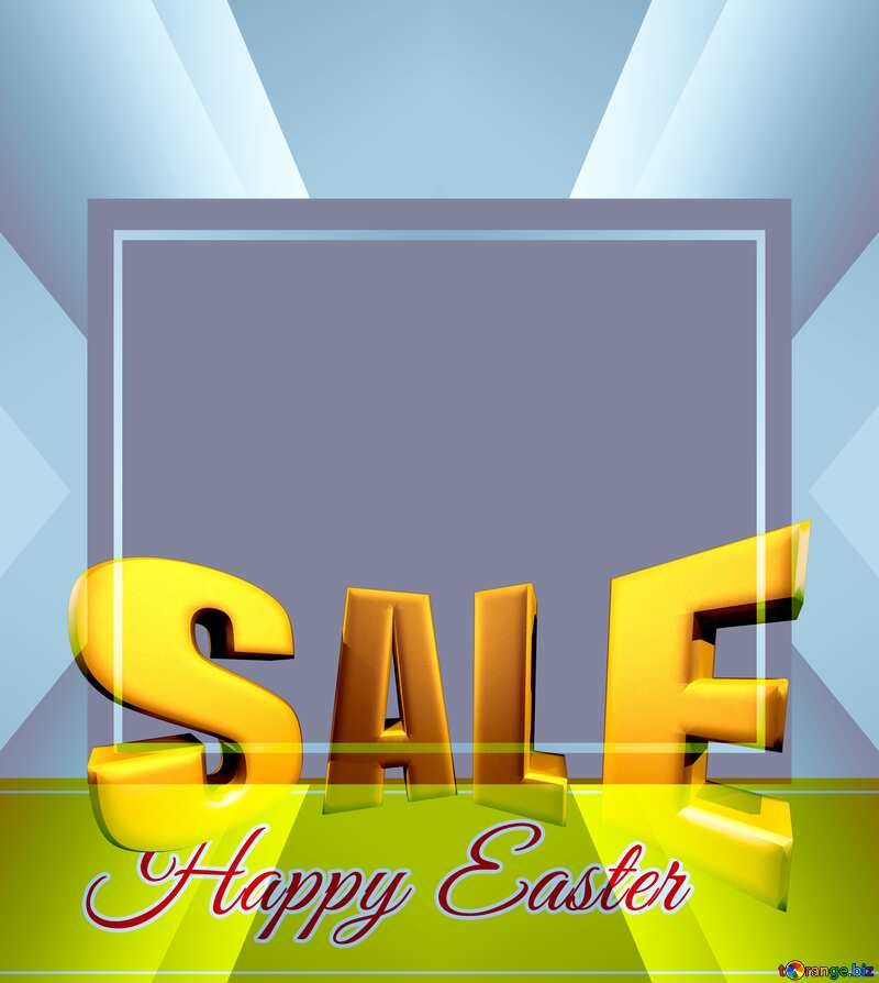 Sales promotion 3d Gold letters sale background Happy Easter Design Frame Template №49668