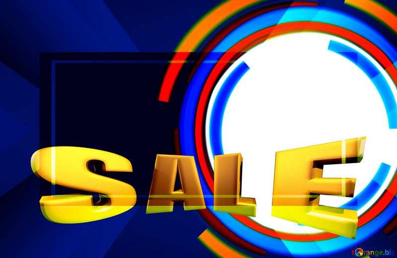 Sales promotion 3d Gold letters sale background Blue Frame Banner Card Template №49680