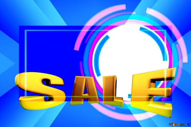 Sales promotion 3d Gold letters sale background blue Frame Template Vintage rays №49680
