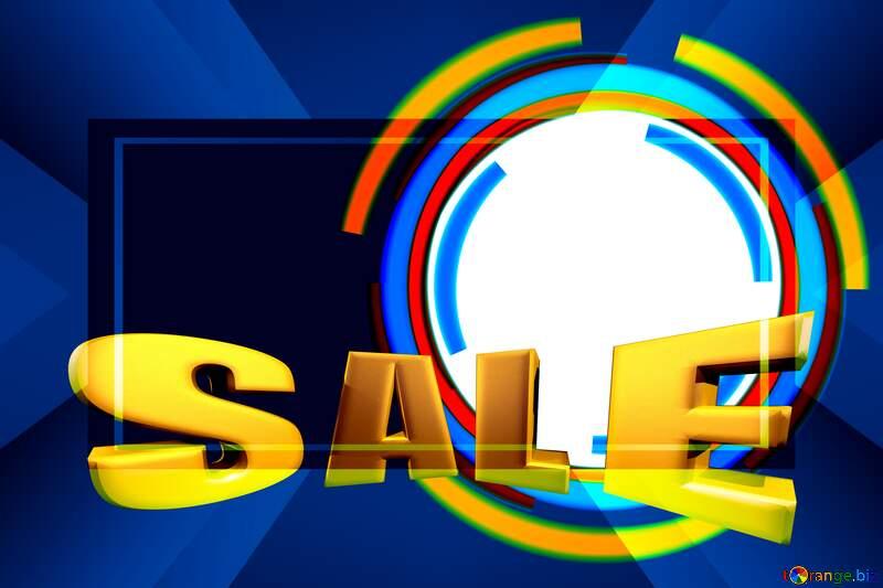 Sales promotion 3d Gold letters sale background dark blue Frame Template Vintage rays №49680