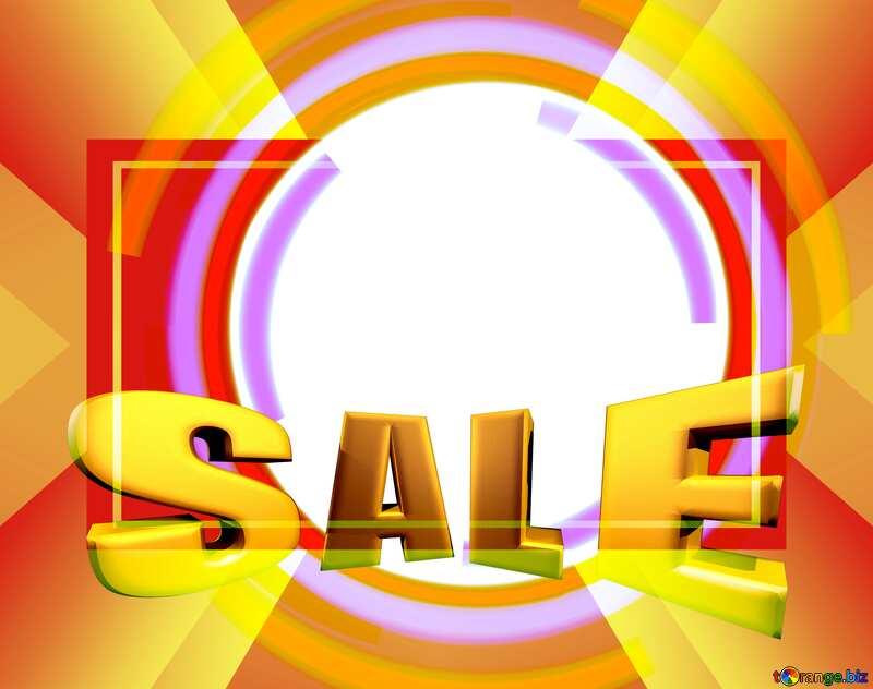 Sales promotion 3d Gold letters sale background Frame Template Vintage rays №49680