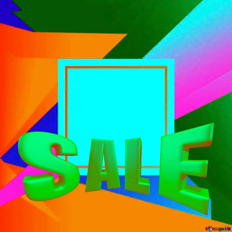 Colorful blank illustration template geometric frame Sales promotion 3d Gold letters sale background №49675