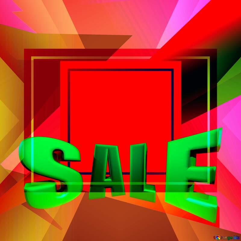 Colorful illustration template frame red Sales promotion 3d Gold letters sale background №49675