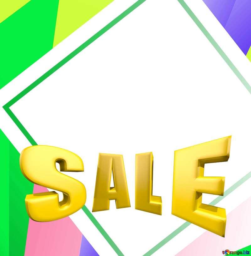 Colorful illustration template tilted frame Sales promotion 3d Gold letters sale background №49675