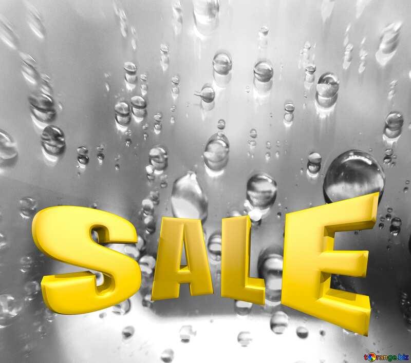 Raindrops macro background Sales promotion 3d Gold letters sale №47981