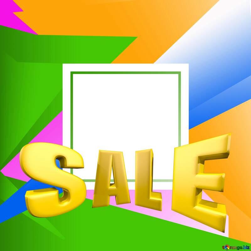Colorful illustration template frame Sales promotion 3d Gold letters sale background №49675