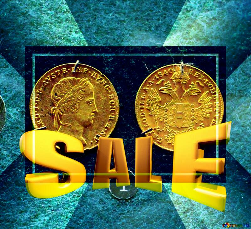 Gold Coins Sales promotion 3d Gold letters sale background Template №43589