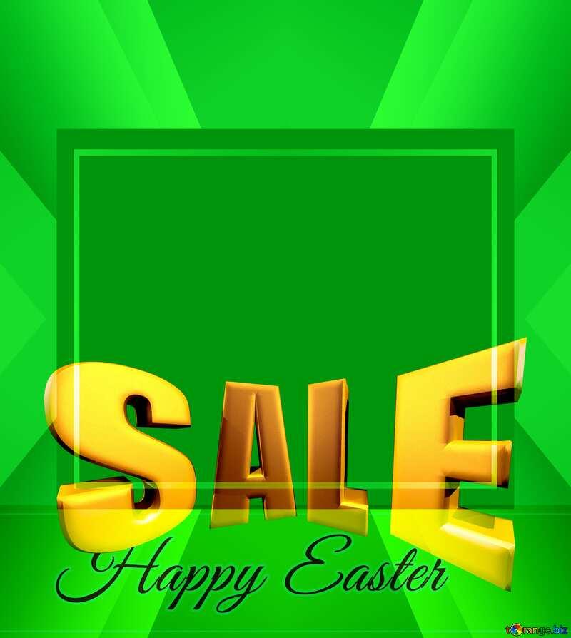 Sales promotion 3d Gold letters sale background Happy Spring green Easter Design Frame Template №49668
