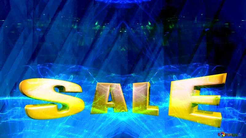 Sales promotion 3d Gold letters sale background Illustration Blue Futuristic Shape №51526
