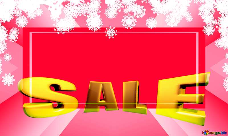 Clipart snowflakes frame Winter Sales promotion 3d Gold letters sale red background №41275