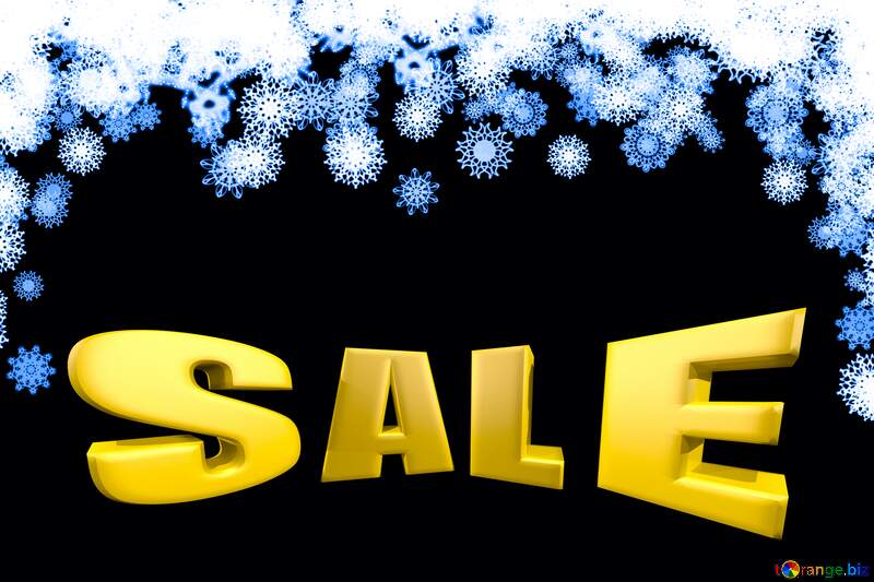 Clipart snowflakes frame Sales promotion 3d Gold letters sale background Blue №41275