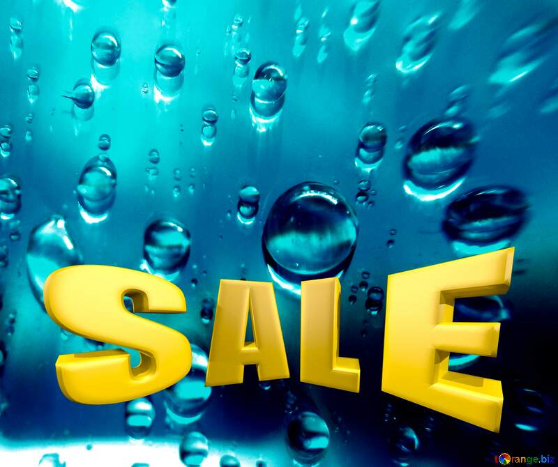 Rain Drops Sales promotion 3d Gold letters sale background №47981