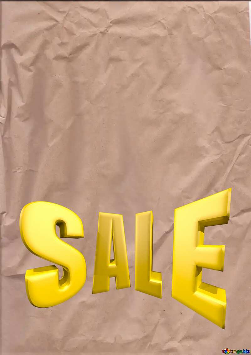 Crumpled paper Sales promotion 3d Gold letters sale background №44737