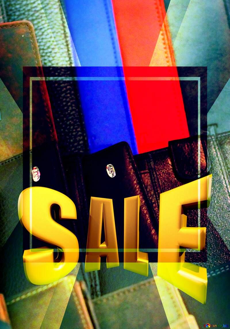 Leather wallets Sales promotion 3d Gold letters sale background №49166