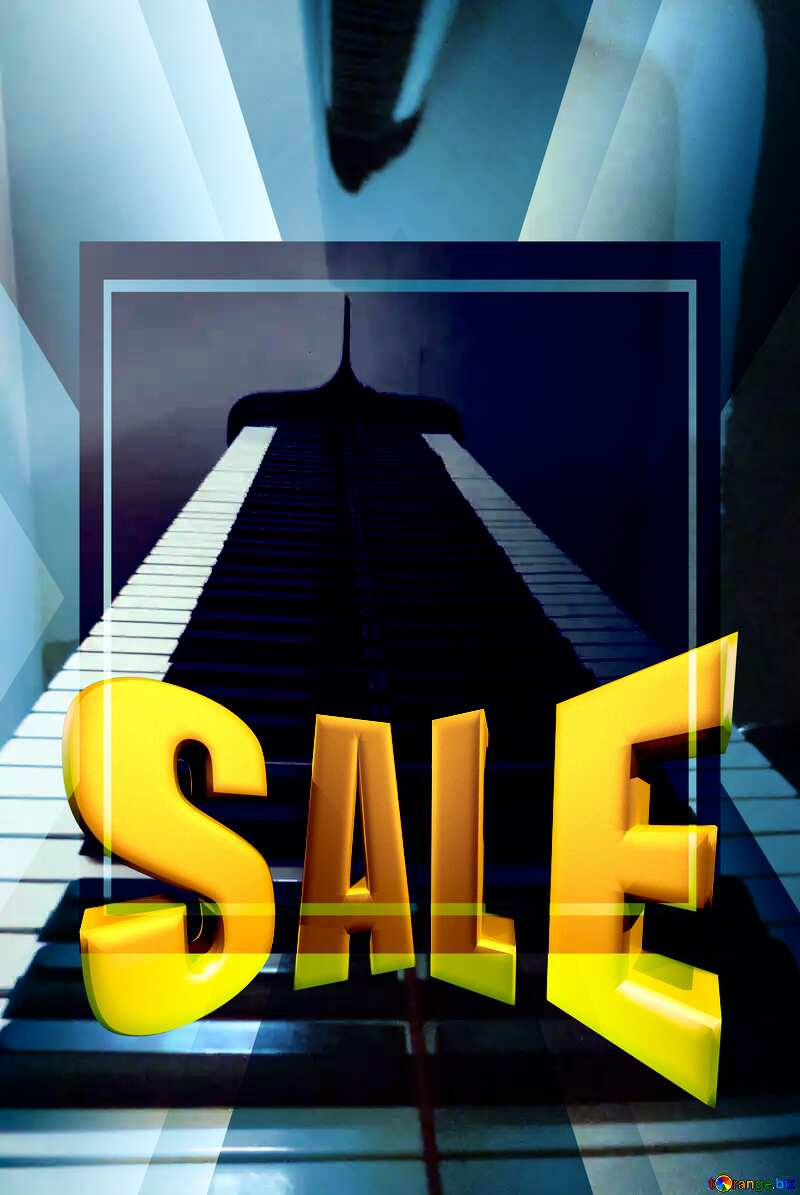 Piano keys Sales promotion 3d Gold letters sale background Template №42949