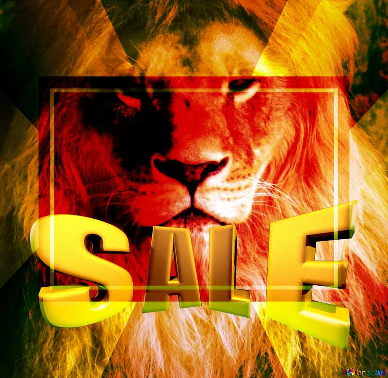 A lion Sales promotion 3d Gold letters sale background Template №44974